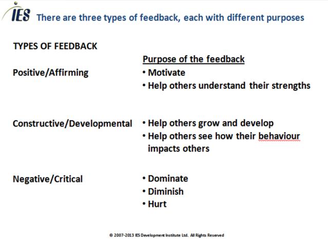 three types of feedback